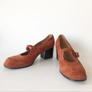 Vintage B Altman & Co Rust Suede Mary Janes 7.5